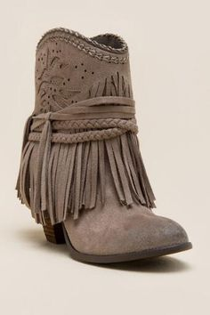 Not Rated Kahlisi Braided Fringe Heel Bootie
