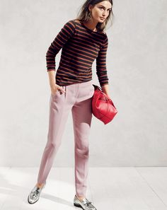 AUG '14 Style Guide: J.Crew women's painter tee with zips and pleated crepe pant.