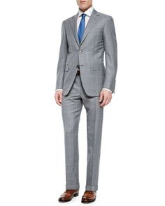 Windowpane Two-Piece Wool Suit, Light Gray by Canali at Neiman Marcus.