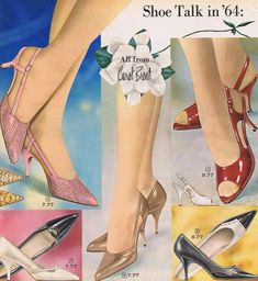 1960s shoes heels stiletto. Despite fashion designers no longer designing tall shoes heel shoes real women continued to wear them anyways.