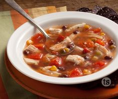 Serve this quick, flavorful soup with warm corn bread or tortillas for a complete meal. │Chicken Tortilla Soup Recipe