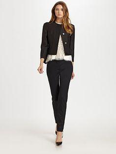 cropped jacket=twisting up office wear