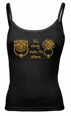 the best labrynth shirt - It's very rude to stare!  Black tank top for women featuring the puzzle door knockers from the movie