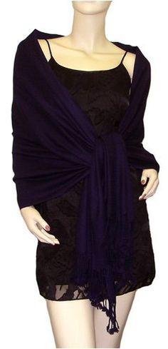 Pure Pashmina Shawl Dark Purple 3 Ply The Pashmina Store. $79.99