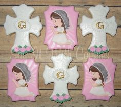 First Communion cookies.  Hand decorated shortbread cookies