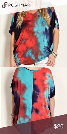 Red Tie Dye Jersey Knit V-Neck Plus Size Top TIE DYE JERSEY  95% RAYON 5% SPANDEX.   1X (Sizes 14-16) 2x (Sizes 18-20) 3x (Sizes 22-24) Tops Tunics