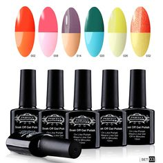 Perfect Summer Thermal Gel Nail Polish 10ml Temperature Colors Changes Soak Off Nail Lacquers UV LED French Manicure Art (6 PCS Set -03) *** You can get additional details at the image link.