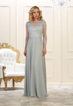 5647933797b Long Sleeve Dress Plus Size Formal Mother of the Bride - The Dress Outlet  Silver May
