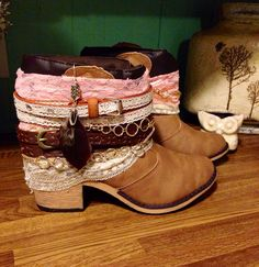 GIRLY Boho Women's Boots Size 9 Ready To by AlwaysDreamBigCrafts