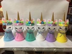 Candy Jars, Candy Dishes, Unicorn Diys, Unicorn Crafts, Creative Crafts, Diy Crafts, Cute Crafts, Clay Pot Projects, Clay Pot Crafts