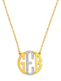 Diamonds lend a glam touch to a traditional block letter monogram. Stones are single cut round brilliant HI I-2. The number of stones