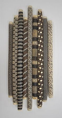 Installation by Kelly Jean Ohl (Ceramic Wall Sculpture 9 Piece installation: Kelly Jean Ohl: Ceramic Wall Art Clay Wall Art, Ceramic Wall Art, Painted Driftwood, Driftwood Crafts, Wall Sculptures, Sculpture Art, Stick Art, African Home Decor, Painted Sticks