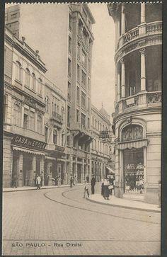 São Paulo - Rua Direita - Cartão Postal antigo original, editado por Malusardi, não circulado, numero 10206