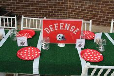 Football party table! See more party planning ideas at CatchMyParty.com!