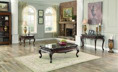 Homelegance 3526-05 Mariacarla Collection Color Marble Top Dark Cherry
