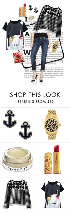 """""""Rocking gold and houndstooth"""" by redrawlins ❤ liked on Polyvore featuring Sperry, Betsey Johnson, Givenchy, Bésame, Chicwish and KUT from the Kloth"""