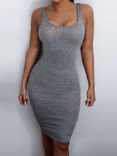 Women O Neck Bodycon Tank Dress