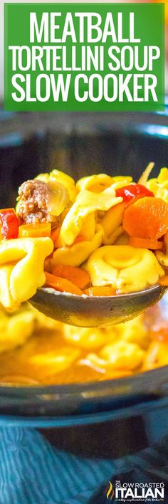 Meatball tortellini soup combines lean beef, veggies, and tender pasta in a rich, flavorful broth. Feed the whole family with this easy recipe! Beef Brisket Slow Cooker, Slow Cooker Roast, Slow Cooker Recipes, Crockpot Recipes, Soup Recipes, Cooking Recipes, Slower Cooker, Slow Cooker Tortellini Soup, The Slow Roasted Italian
