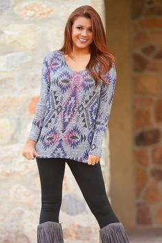 10% OFF with code REPLAUREN at checkout + free, fast US shipping || On My Mind Aztec Tunic from Closet Candy Boutique