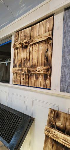 Burned interior shutters for my skoolie