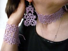 Tatting handmade jewelry wood violet  by ShopGift on Etsy, $52.00