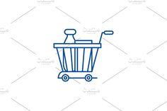 Vector Website, Vegetable Design, Line Icon, Illustration, Basket, Concept, Illustrations