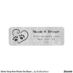 Shop Silver Gray Paw Prints On Heart Mailing Address Label created by EndlessPaws. Mailing Address Labels, Custom Return Address Labels, Address Label Template, Label Templates, Paw Prints, Customized Gifts, Gift Tags, Gray, Heart