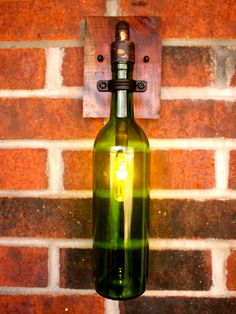 Wine Bottle Light Lamp - Industrial Sconce - Exterior - 40 watt Bulbs