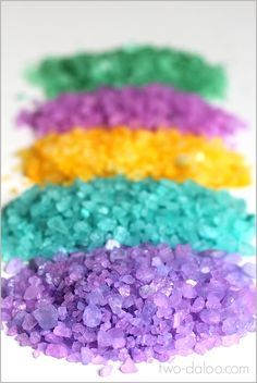 Make these beautiful sparkly rainbow crystals for art, sensory, and pretend play with just two ingredients!