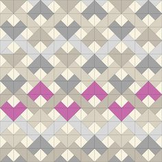 for emily woven chevron - radiant orchid. Mix between HST and QST. Could also be done with squares and rectangles set on-point. Quilting Tutorials, Quilting Projects, Quilting Designs, Quilting Ideas, Half Square Triangle Quilts, Square Quilt, Quilt Block Patterns, Quilt Blocks, Chevron Quilt Pattern