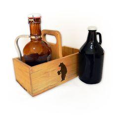 Handmade Wooden Beer Growler Toter