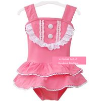 PINK SWIMSUIT WITH LACE ACCENTS & MATCHING HAT - Thumbnail 2
