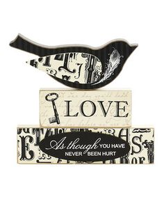 Look what I found on #zulily! 'Love' Bird Two Bricks Décor by K&K Interiors #zulilyfinds