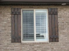 Decorative window shutters exterior wooden outdoor window shutters wants rustic shutters like these by wants rustic . Farmhouse Shutters, Cedar Shutters, Rustic Shutters, Rustic Farmhouse, Wooden Shutters Exterior, Exterior Windows, Green Shutters, Farmhouse Door, Diy Shutters