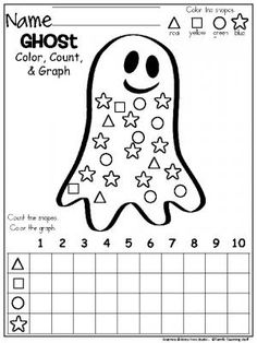 October Ghost Shapes Graph freebie for Halloween and fall. Color, count, and graph the shapes in this worksheet for Kindergarten and preschool. Halloween Worksheets, Halloween Activities, Preschool Halloween, Preschool Math, Kindergarten Classroom, Fun Math, Kindergarten Activities, Classroom Activities, Theme Halloween