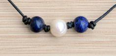 Freshwater Pearl , Blue Gemstone and Leather Choker Necklace/Blue Gemstone/Magnesite Lapis/White Pearl Necklace/Leather Jewelry/Pearl/Boho by BonafideBeads on Etsy