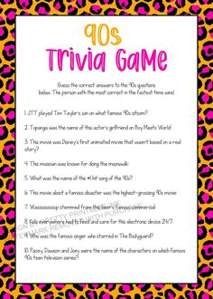90s Trivia Game Printable, Girls Night in Game, 90s Party Game | by Pretty Printables Ink on Etsy. This printable 90s trivia game is the perfect activity for a girls night in, adult birthday party or 90s party! Instant download - print as many as you need #90strivia #90sparty #90spartygame #girlsnightgames #adultbirthdaygames #bachelorettepartygame #bridalshowergame
