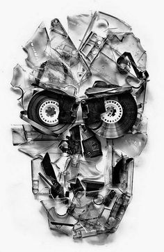 Cassette Art by Ali Gulec #skull #black and white
