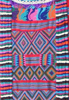 Detail of a Chinantec gala huipil from San Lucas Ojitlan, Oaxaca in northern Oaxaca Mexico.