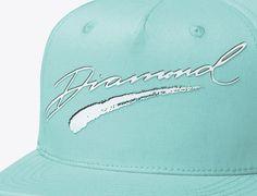 Brush Script Diamond Blue Snapback Cap by DIAMOND