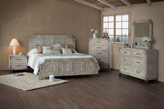 Pearl White Rustic Contemporary 6-Piece Queen Bedroom Set - Camelia