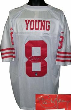 Steve Young signed San Francisco 49ers Vintage Reebok White Jersey- Young Hologram . $348.84. Steve Young was named the Most Valuable Player of the NFL in 1992 and in 1994, the MVP of Super Bowl XXIX, and was inducted into the Pro Football Hall of Fame in 2005, the first left-handed quarterback to be so honored. He holds the NFL record for highest career passer rating and won six NFL passing titles. Steve Young has hand autographed this San Francisco 49ers Reebok White Vinta...