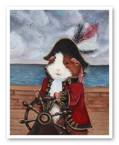 Yep. It's a Guinea Pirate. What of it? Guinea Pig Pirate ACEO Broccoli Jones. $4.50, via Etsy.