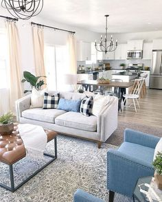 Coastal Living Rooms Open Concept Coastal Decorating - Home decor interests Colourful Living Room, Coastal Living Rooms, Interior Design Living Room, Living Room Designs, Living Room Kitchen, Living Room Decor, Dining Room, Dining Living Room Combo, Living Room And Kitchen Together