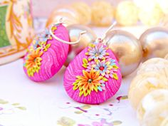 Pink Mexican Earrings, Pink Polymer Clay Floral Earrings, Pink Flower Dangle Earrings, Polymer Clay Jewelry, Mexican Jewelry, Pink Jewelry