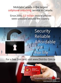 Need to unlock your cell? www.MobileInCanada.com is the largest cellphone unlocking service in Canada. Since 2005, 3.5 million mobile phones were unlocked around the country. Security/Reliable/ Affordable/Fast/For life. For a free Sim card, visit  www.Distribu-Sim.ca ___ #Canada #unlock #Mobile #phone #cellphone #unlocked #Security #Reliable #Affordable #Fast #free #Sim Free Sims, Mobiles, Canada, Love Me Forever, My Love, Mobile Phones, Country, Business, Life