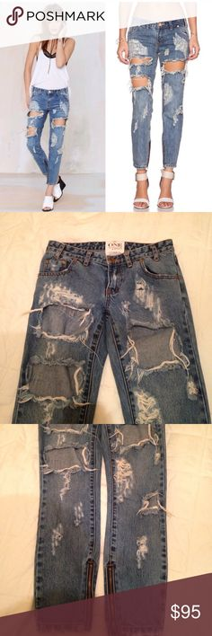 One Teaspoon Trashed Free Birds Like new! Zero flaws. One teaspoon trashed free birds has a 26 inch inseam low waisted, short rise with a rigid skinny leg and extreme distressing. Zipper closures. I can't remember if the color is brave or cobain...sorry. I am NOT 100 percent sure I want to part with theses. I have two other pairs but I am still hesitant to let these go. One Teaspoon Jeans Ankle & Cropped
