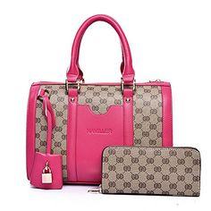Women Handbag,Women Bag, KINGH Vintage PU Leather Shoulder Bag Purse 2 PCS Set Bag 089 Rose Red -- You can get additional details at the image link.