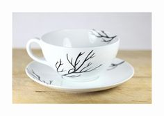 Hand Painted Porcelain Cappuccino Cup and Saucer by SylwiaGlassArt, $35.00