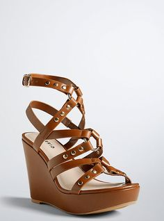 Studded Strappy Wedge Sandals (Wide Width), BROWN
